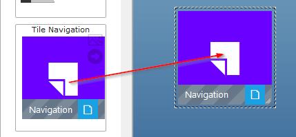 Tile Navigations Element auf die View ziehen