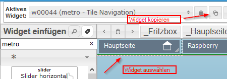 Widget markieren und kopieren
