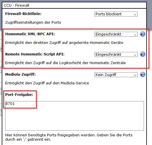 Empfohlene Firewall Einstellung für HomeMatic