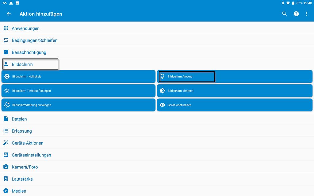 Bildschirm -> Bildschirm An/Aus -> Bildschirm an