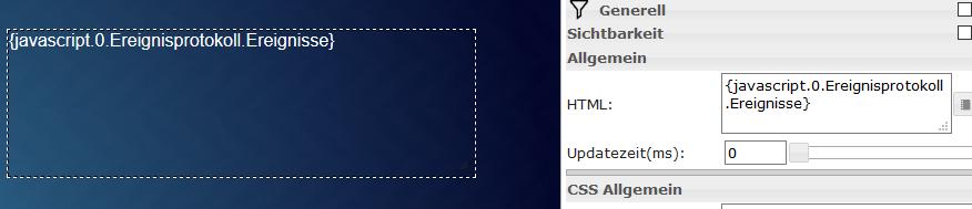 HTML Widget mit zugewiesenem Datenpunkt