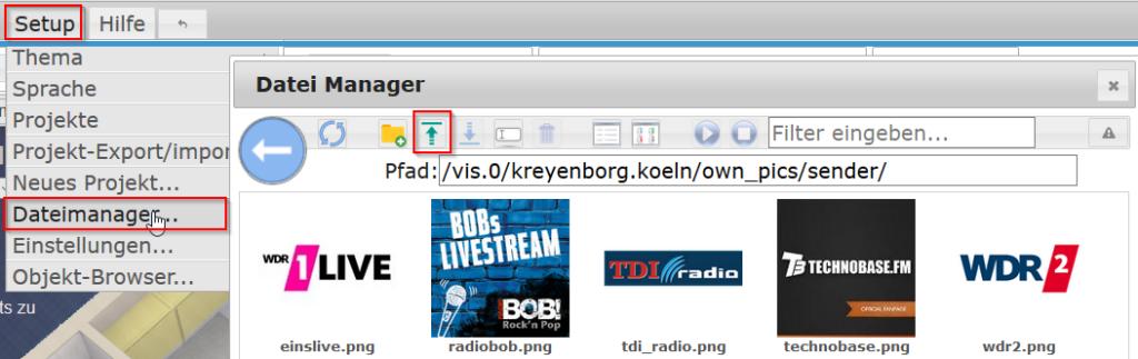 Senderlogos über den Dateimanager hochladen