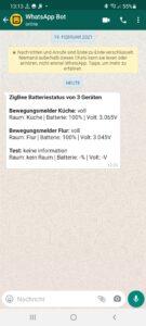 ZigBee Batterie Status in WhatsApp